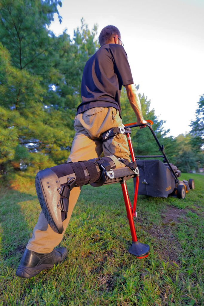 hands-free crutch - mowing lawn